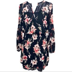 WHBM LONG-SLEEVE LACE INSET FLORAL PRINT DRESS